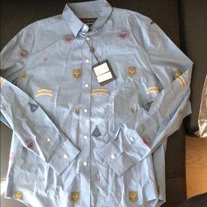 The Rock Mens Basketball LS Pullover 1//4 Zip Shirt 4XL Black White Italian NWOT